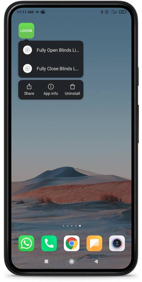 Loxone App Android Shortcut