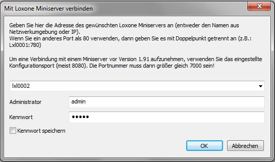 konfigurationssoftware-verbindungsdialog