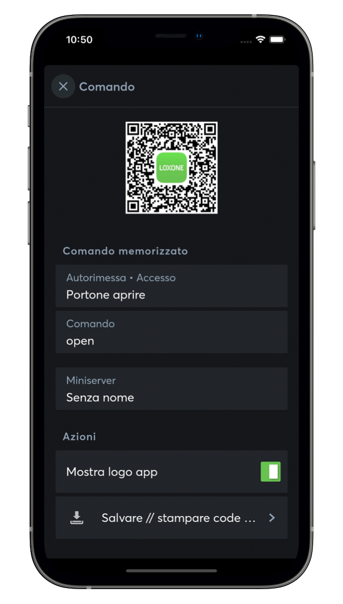 QR con la Loxone App