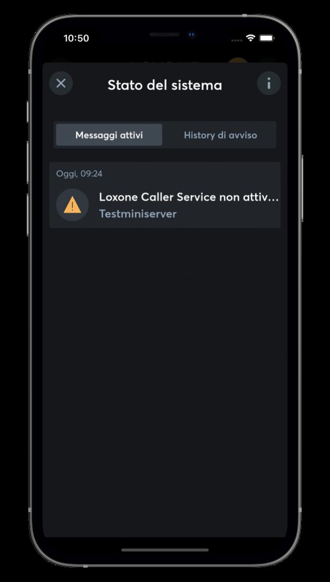 Stato di sistema nell'App Loxone