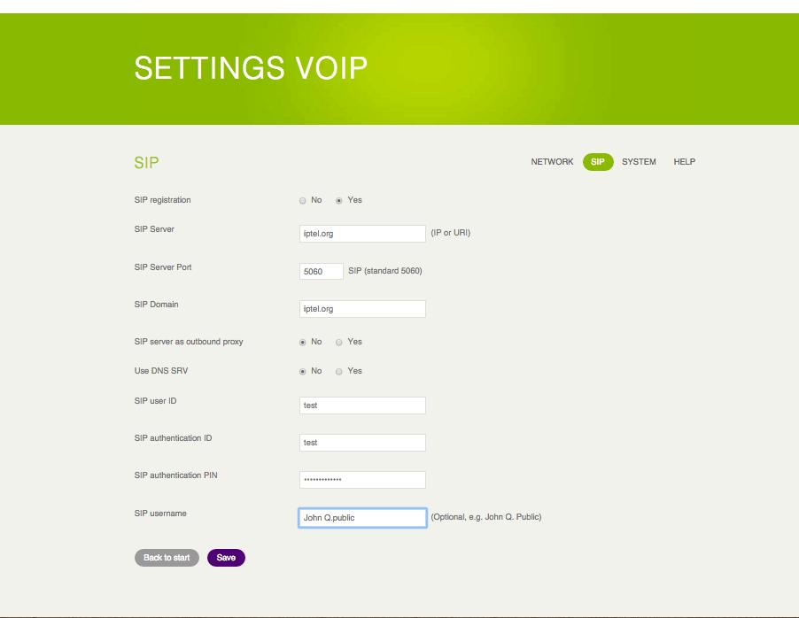 Instellen VoIP