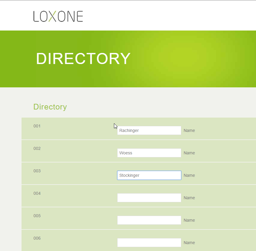 Intercom - directory