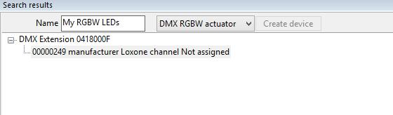 Set-up RGBW dimmer DMX