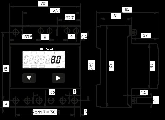 Afmetingen Modbus 3-Phase