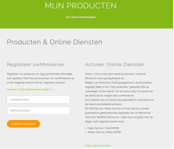 online service activeren