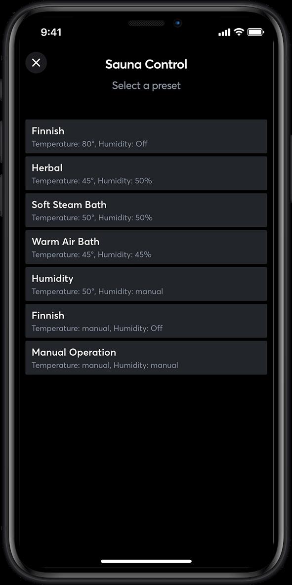 Smart Home App - Sauna