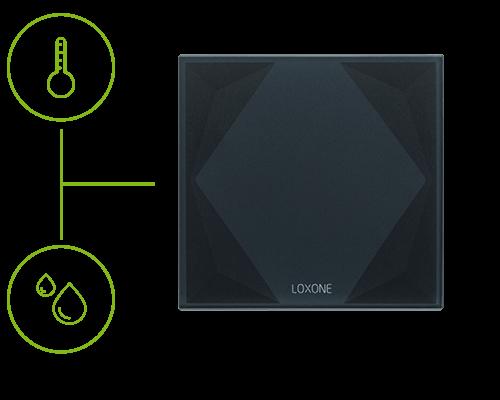 Przycisk Touch Pure z wbudowanym czujnikiem temperatury i wilgoci