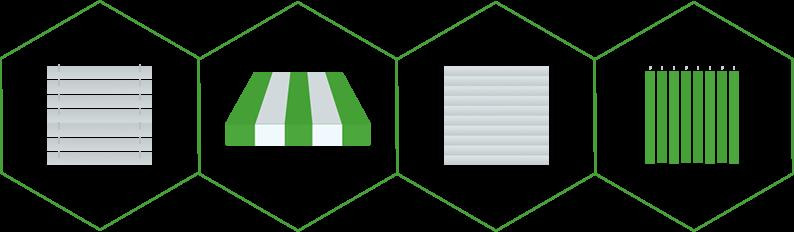Różne typy technik zacieniania: żaluzje zewnętrzne i wewnętrzne, rolety, markizy.