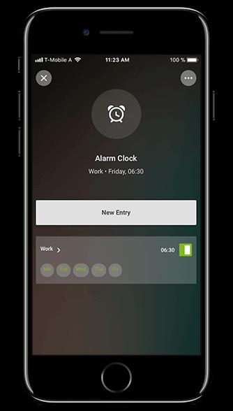 Aplikacja Loxone: budzik