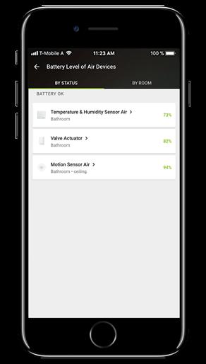 Aplikacja Loxone: poziom baterii