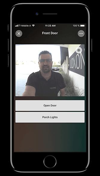 Aplikacja Loxone: widok z kamery domofonu