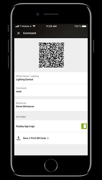 Aplikacja Loxone: kod QR do zeskanowania