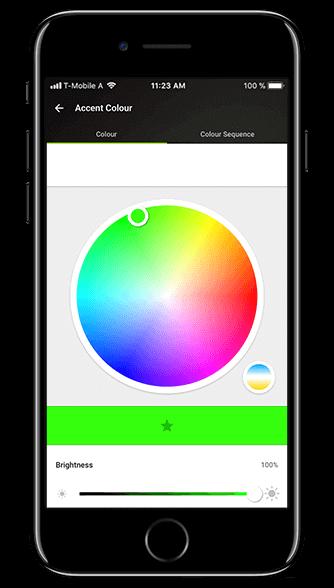 Aplikacja Loxone: paleta kolorów świateł
