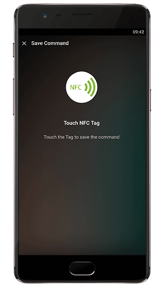 Aplikacja Loxone: przyłóż NFC tag