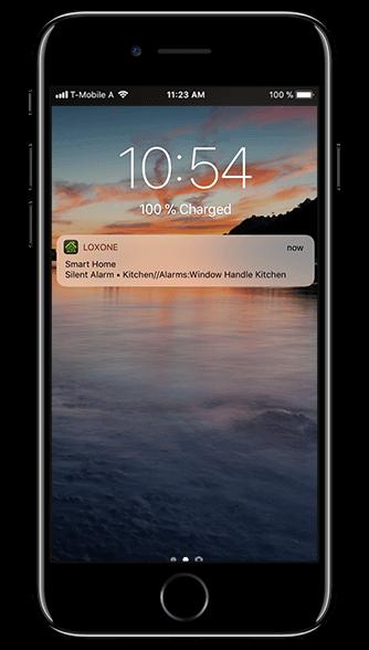 Aplikacja Loxone: notyfikacja push na ekranie telefonu