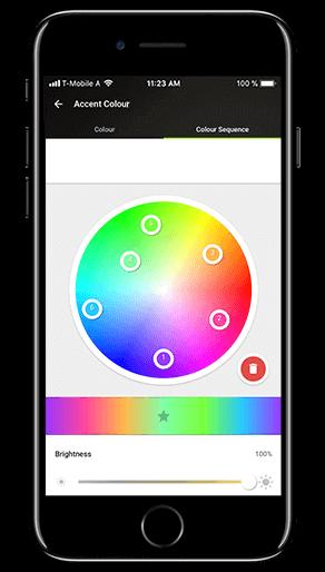 Aplikacja Loxone: paleta kolorów światła