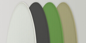 Kolory siatek na głośnik: biała, czarna, zielona i brązowa