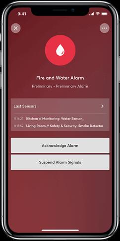 Aplikacja Loxone: alarm pożar i wyciek wody