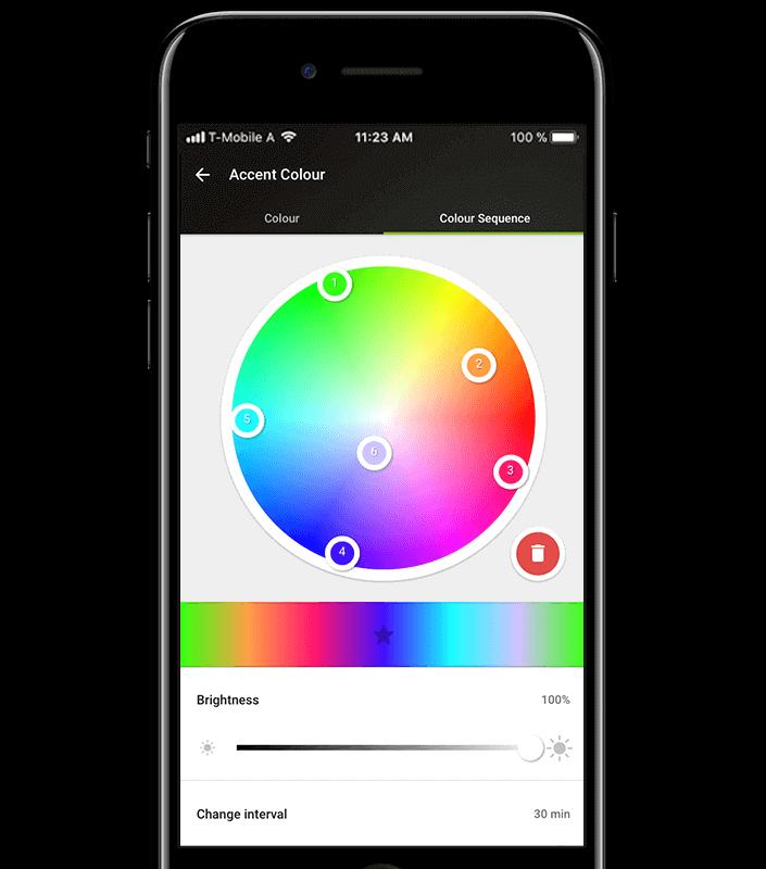 zmiana kolorów światła w aplikacji