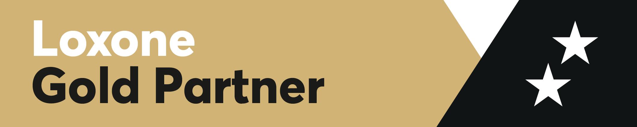 Złoty baner z napisem Loxone gold partner