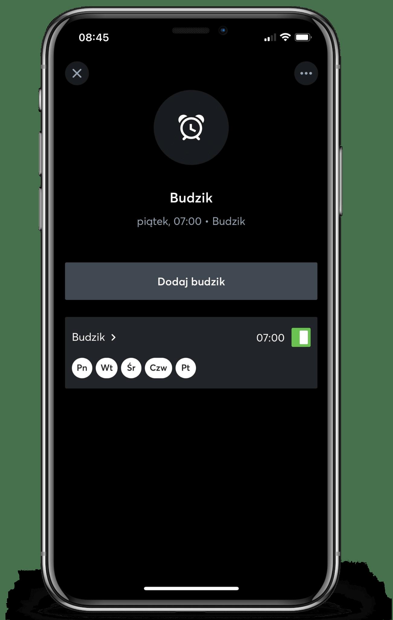Budzik w aplikacji Loxone