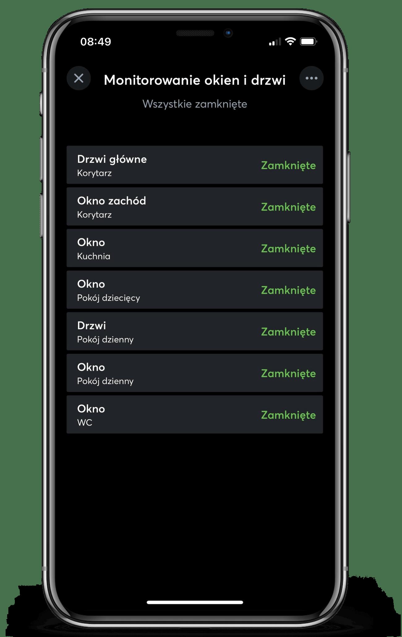 Monitoring drzwi i okien w aplikacji Loxone