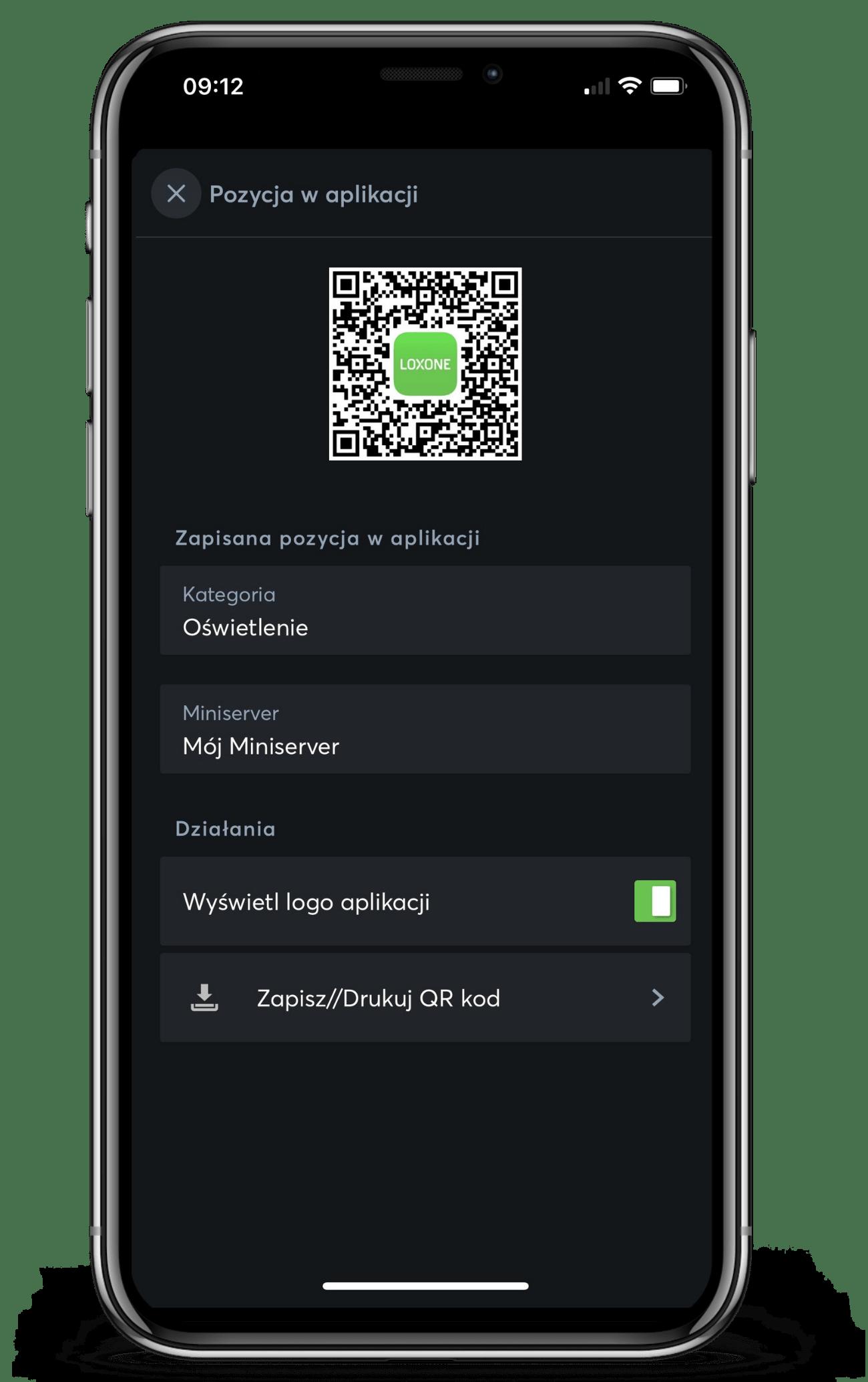 Kod QR w aplikacji Loxone