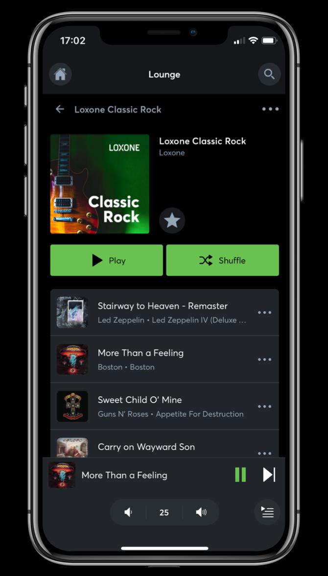 Ovládanie hudby v Loxone App