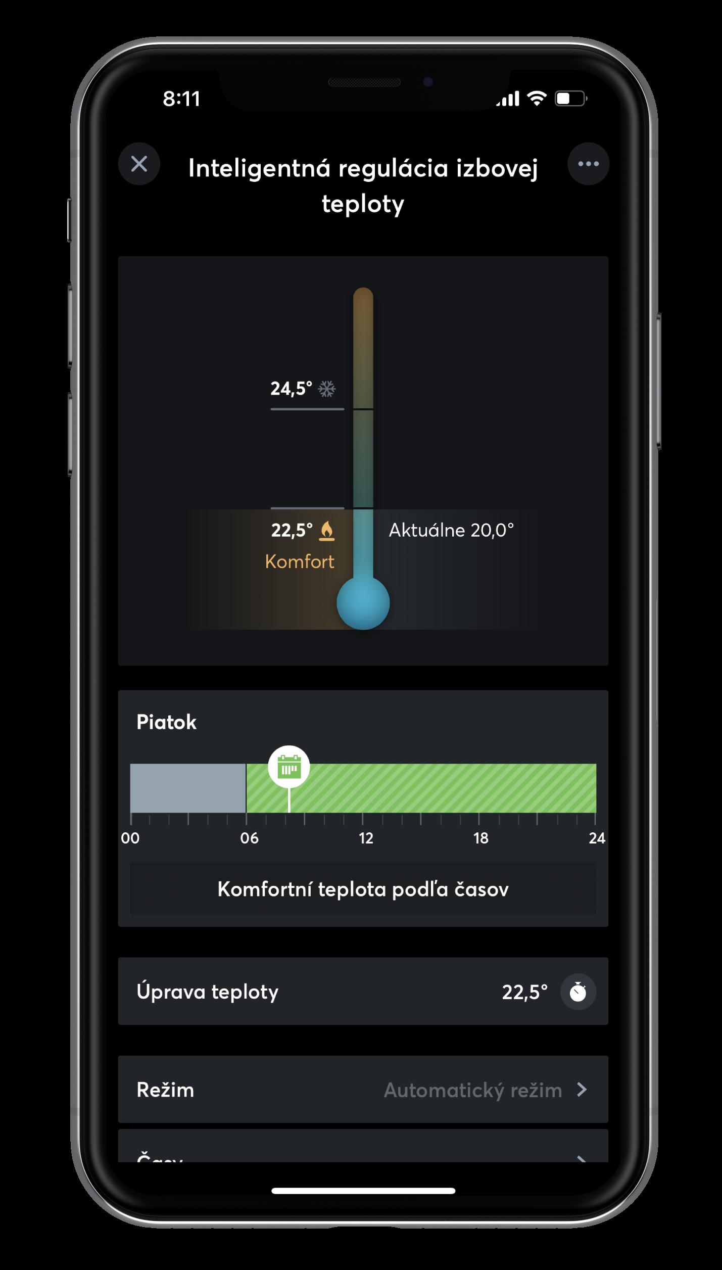 Inteligentná regulácia teploty v App
