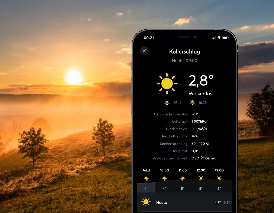 Vizualizácia predpovede počasia v aplikácii Loxone